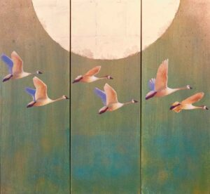 Flying Geese Triptych Painting