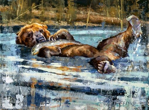 grizzly bear in water painting