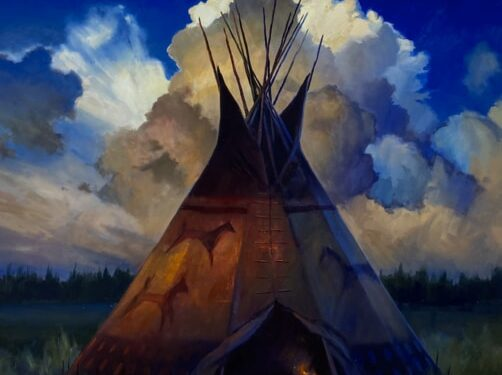 teepee clouds painting