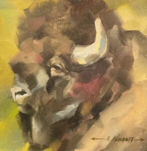 bison head painting