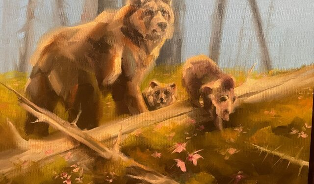 grizzly bear and cubs painting